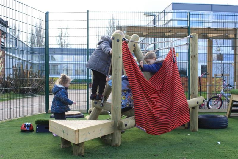 children playing on our climbing frame