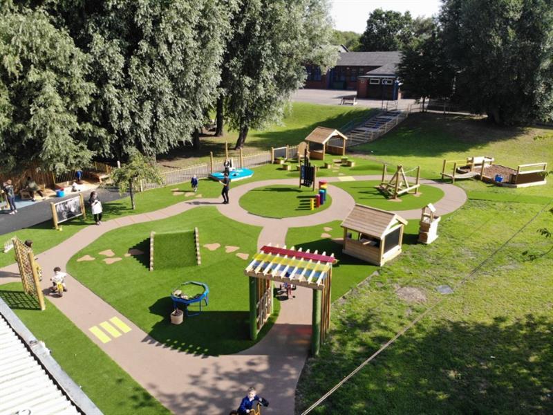 Huge area of outdoor play equipment
