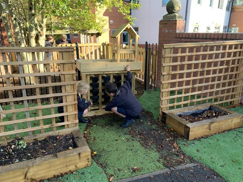 Children observing insects in a Bug Hotel