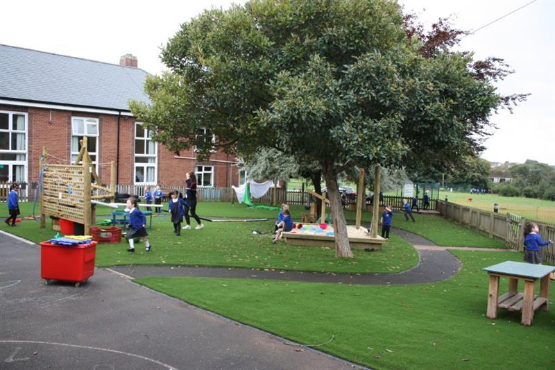 Children running around on Artificial Grass at a school