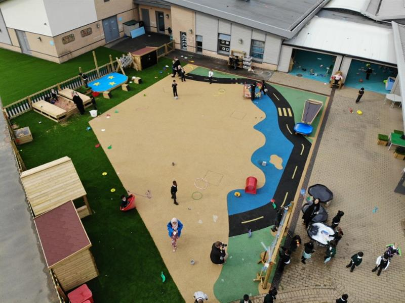 An overhead view of a colourful playground design for early years foundation stage children