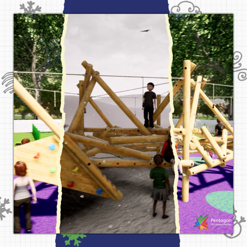 Campaign photo of animated children on a climbing frame transitioning into a climbing frame on top of a mountain.
