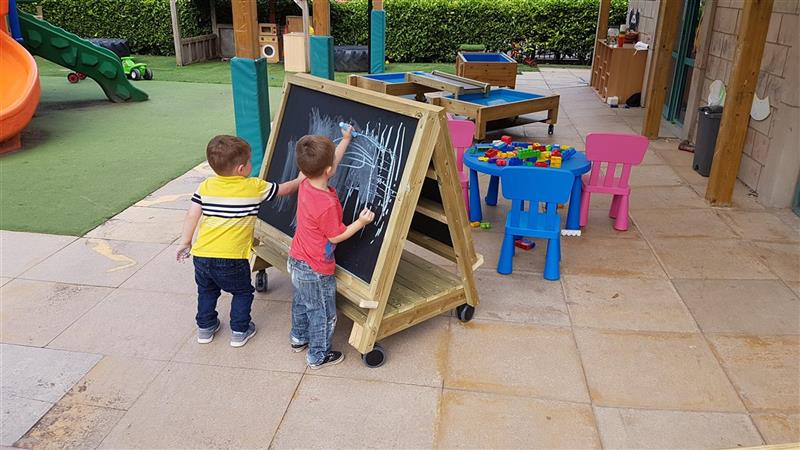 children drawing on easel on wheels.