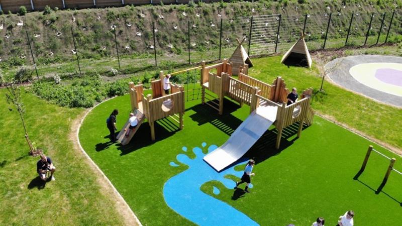 a birds eye view of a sen playground