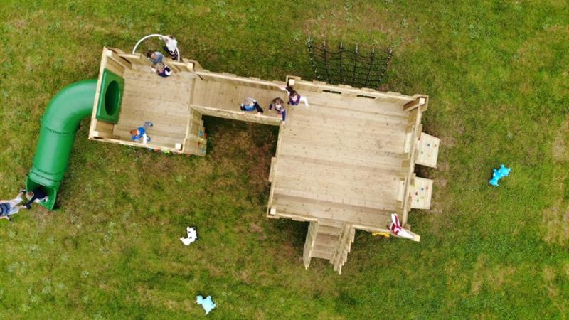An overhead view of the langley play castle
