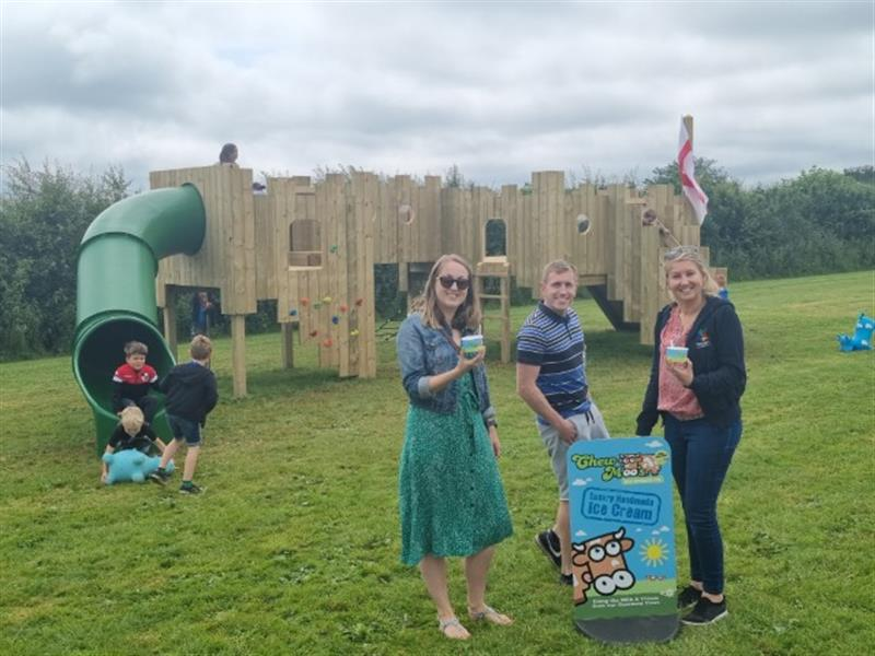 Pentagon Play's Playground Castle installed onto natural grass at Chew Moo's Ice Cream Parlour
