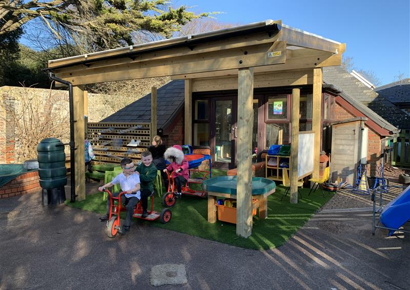 Timber canopies in an EYFS playground