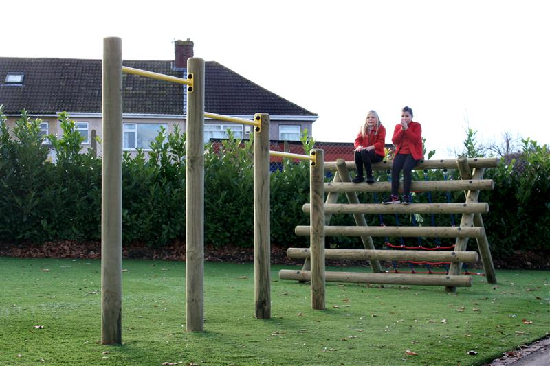 Pull Bars and a Log and Net Climber