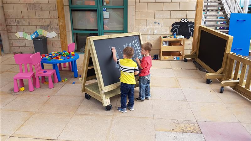 Preschool Playground Easel On Wheels