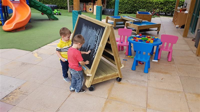 Nursery Outdoor Play Equipment - Easel On Wheels